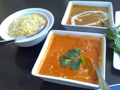 Clockwise from left: Dhal Makhni, Zaffrani Chawal, and Noor Jahani