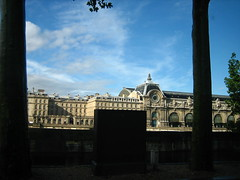 View of Musee d'Orsay through a cab window