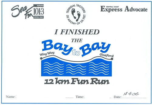 Woy Woy to Gosford Fun Run finishing certificate