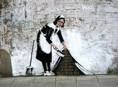 Amazing Graffiti by Banksy close to the Roundhouse - Camden Town, London photo by canonsnapper