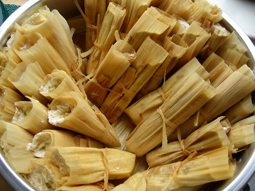 Tamales in the steamer