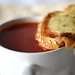 Tomato and Basil Soup with Cheddar Crisp