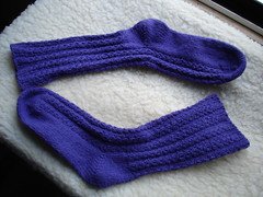 purple YO cable socks