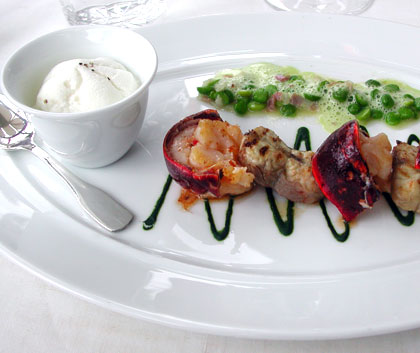 Langoustines with petit pois and vegetable mousse