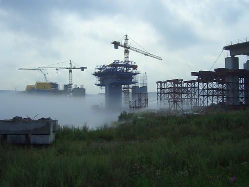Строящийся мост через Ангару \ Bridge over Angara