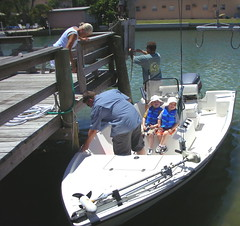 Bradley and Jake going out on Uncle Dave's Boat