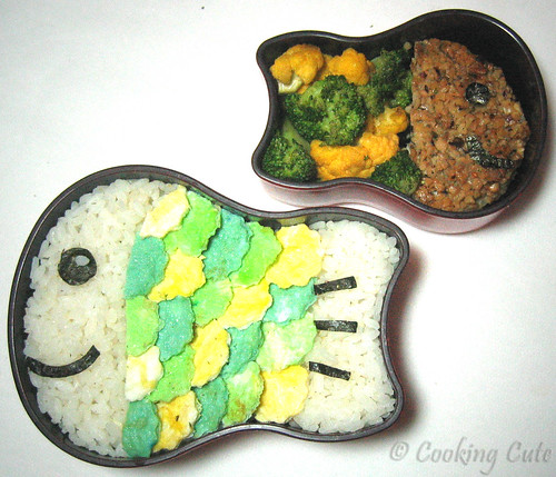 [double fish bento, one made of rice and egg, the other made of fish and veggies]