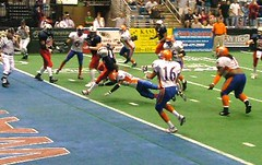Ronnie McCrae's second touchdown, which would have been the game winner if not for Luzayadio's last-second FG.  Evansville Bluecats 33 @ Fort Wayne Freedom 31, May 20, 2006