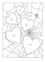 Hearts in spider web