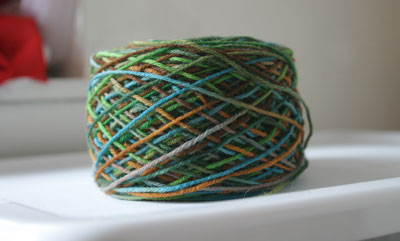 Dyeorama yarn, balled up