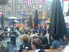 World Cup football crowd in the Three Sisters, Edinburgh Beer Garden