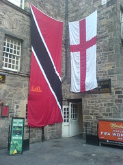 World cup flags outside the Three Sisters, Edinburgh