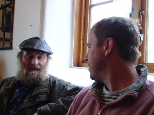 Tom talking to Halvard in Tromso, Norway