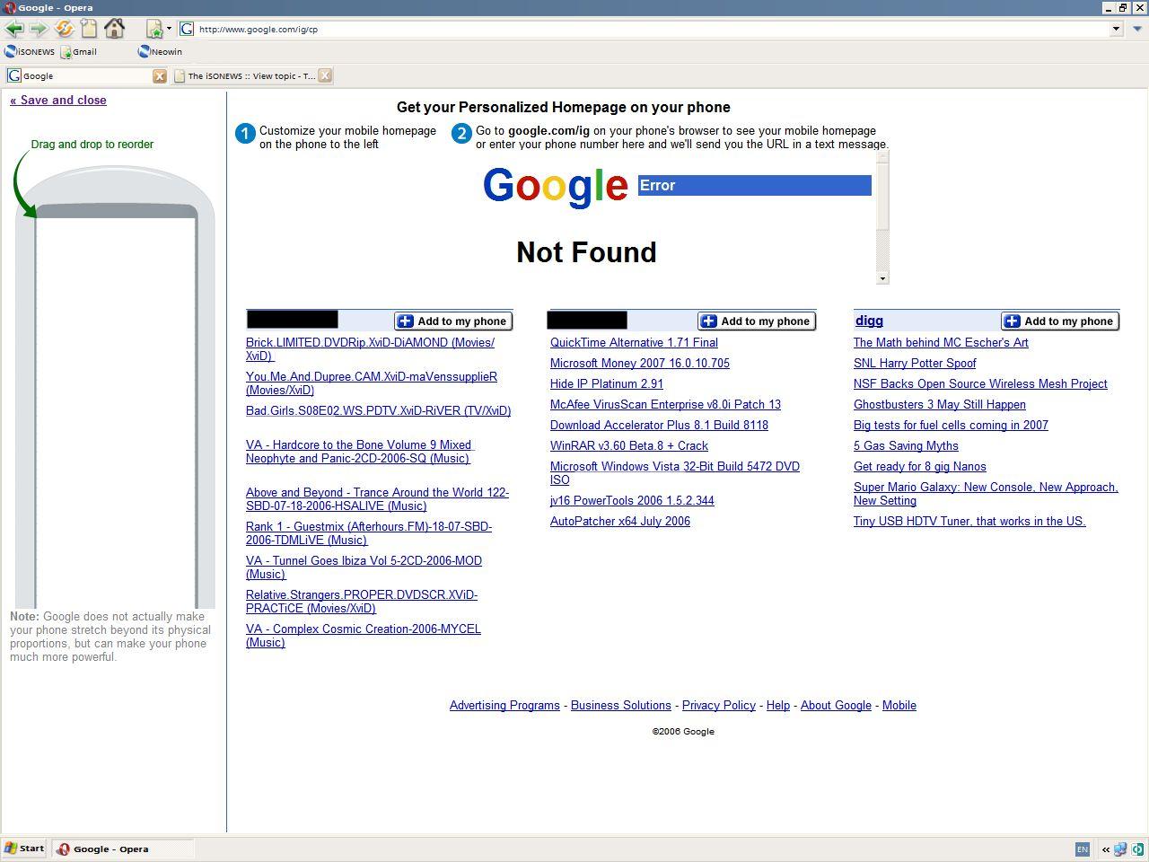Google Personal Homepage Mobile anpassen