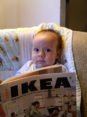 My son peruses the Ikea catalog