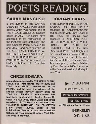 Sarah Manguso Jordan Davis Chris Edgar Pegasus Books Berkeley