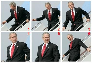 Bush trips on a plane