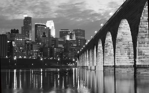 Minneapolis Stone Arch Bridge B&W