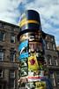 Posters advertising Festival Fringe shows on Edinburgh's Royal Mile