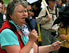 Peg Askin Speaking at Peace Rally