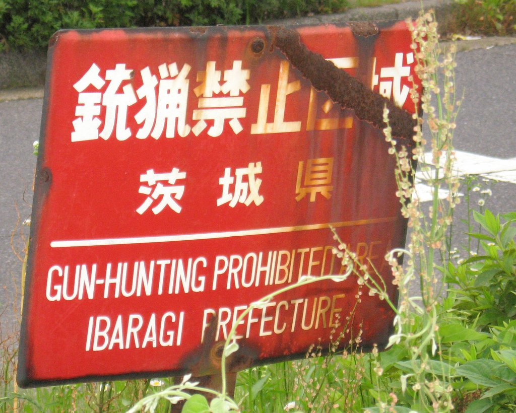Rusted no-hunting sign