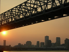 Sunset under the Crescent City Connection, as seen from Algiers