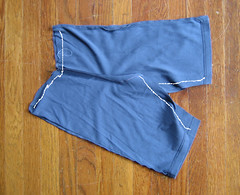 Sew crotch seams up and fold over panel for waist