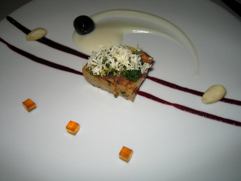 Fat Duck - Roast Foie Gras w/ Almond Fluid Gel, Cherry, & Chamomile