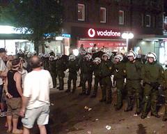 Polizeisperre aus Richtung Palast