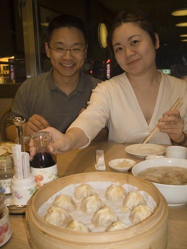 Eating dumplings in Taipei