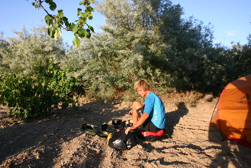 Preparing the dinner at my camp in the grape fruit grove east of Acigöl, central Turkey.