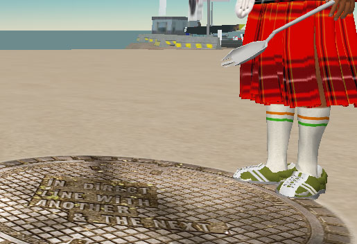 image: a shot of me in Second Life standing over my masterpiece: a texture of the Village manhole covers by Lawrence Weiner