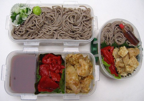 Zarusoba and Lizano chicken: mother and son lunches お弁当