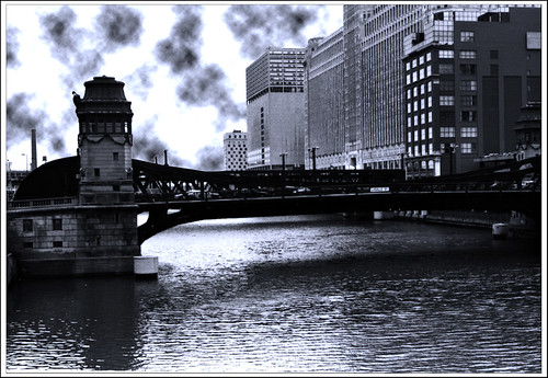 LaSalle St Bridge w sky