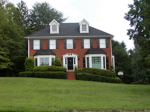 White trim bricks and black shutters on pinterest - Red brick house black shutters ...