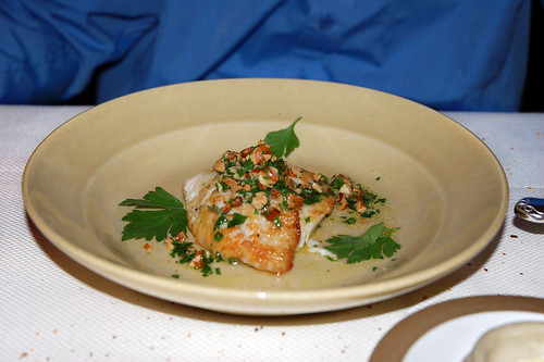 Pan-fried local petrale sole with almonds and parsley