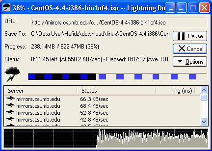 Downloading CentOS 4.4 CD1