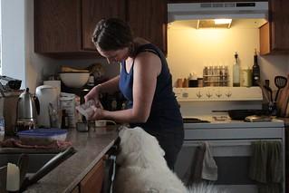 Mavis helping Liz cook