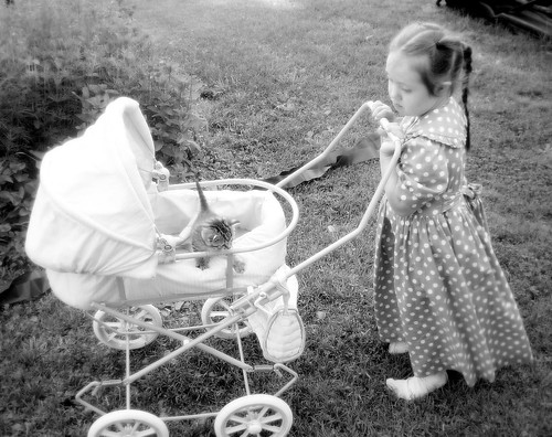 Walking her baby kitty