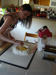 incorporating the egg into the flour