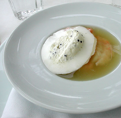Langoustines in consomme with caviar cream