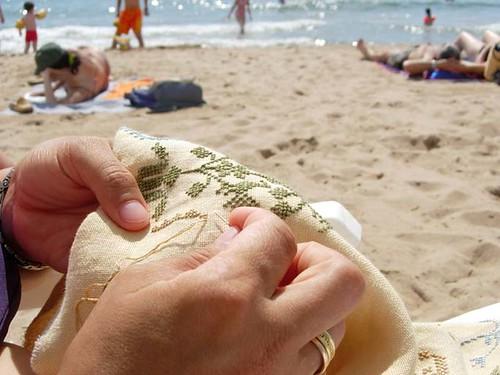 Bordando en la playa
