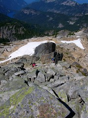 AC and DHM climbing the last bit to summit.