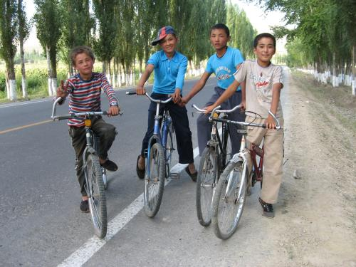 Local biker boys - Alatube (Alatudo), western China