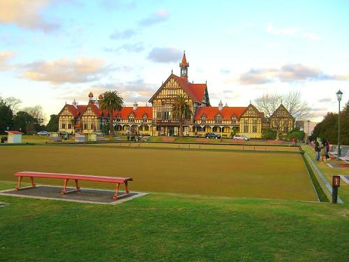 羅托魯瓦博物館的草地保齡球場地