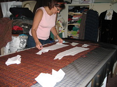 cutting the handwoven