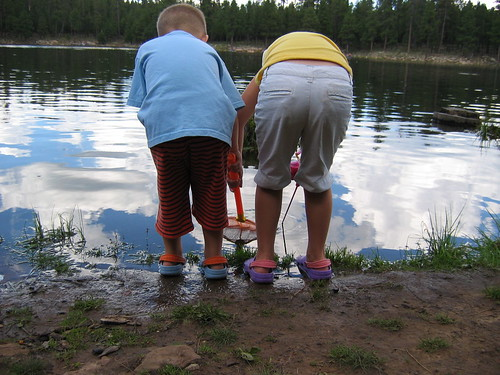 kids wearing crocs fishing