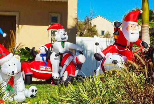Santa Rides a Polar Bear