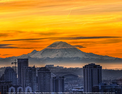Freezing Frame: Mt. Rainier  and Downtown Seattle at Sunrise photo by Michael Holden