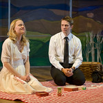 Kelly O'Sullivan (Claudia) and Erik Hellman (Trick) in HESPERIA at Writers Theatre. Photo by Michael Brosilow.